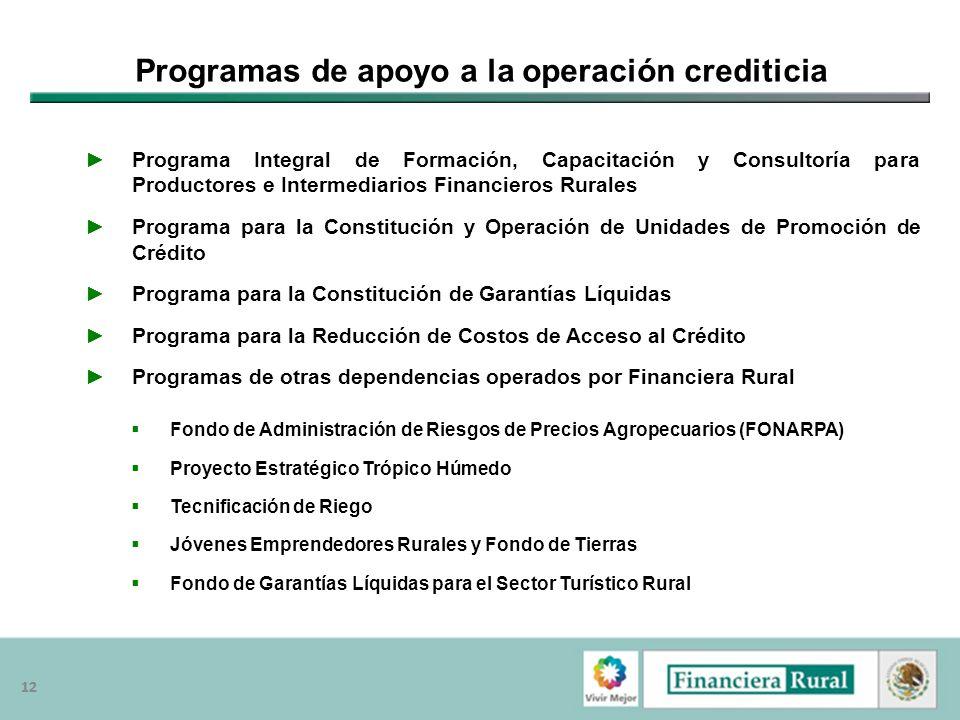 Programas de apoyo a la operación crediticia
