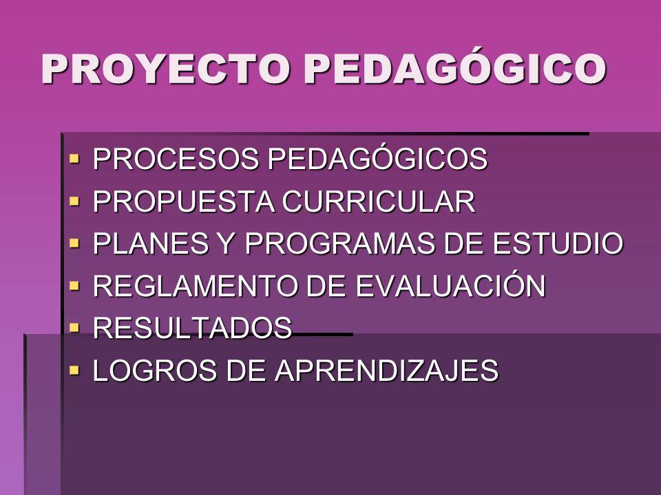PROYECTO PEDAGÓGICO PROCESOS PEDAGÓGICOS PROPUESTA CURRICULAR