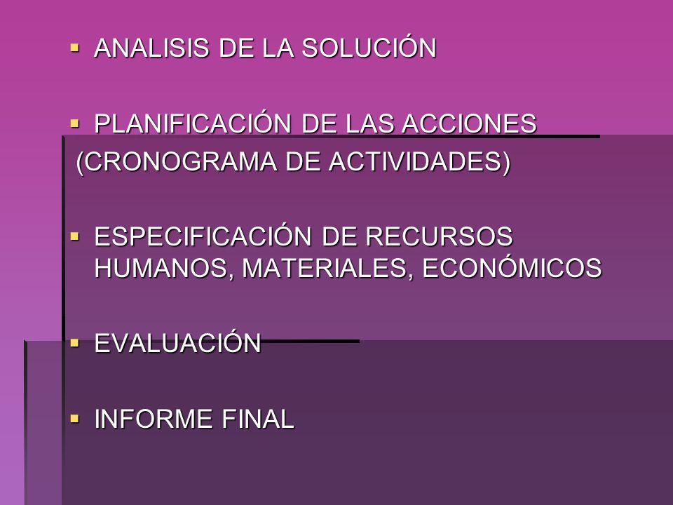ANALISIS DE LA SOLUCIÓN