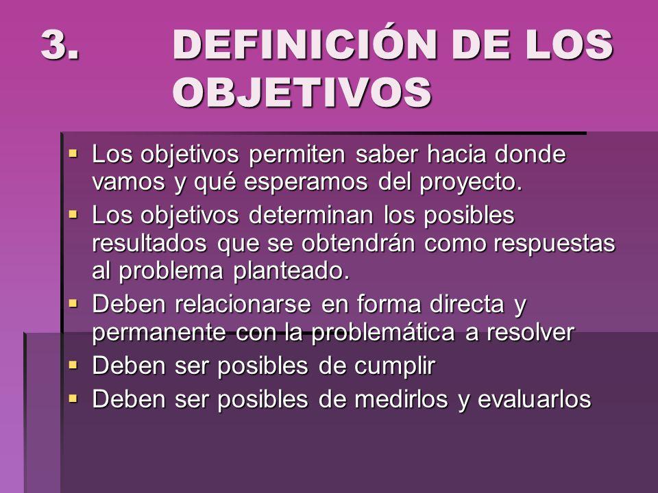 3. DEFINICIÓN DE LOS OBJETIVOS