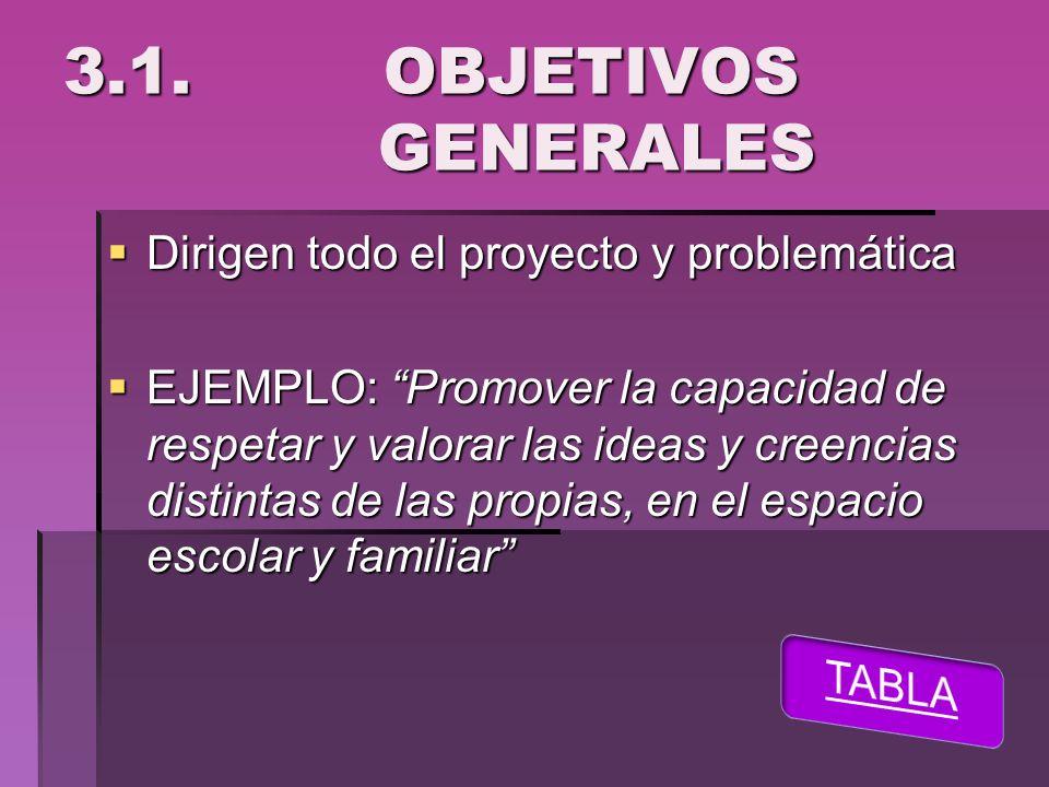 3.1. OBJETIVOS GENERALES Dirigen todo el proyecto y problemática