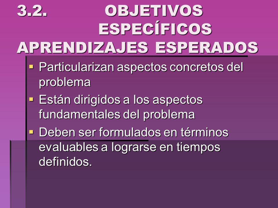 3.2. OBJETIVOS ESPECÍFICOS APRENDIZAJES ESPERADOS
