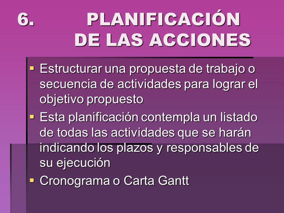 6. PLANIFICACIÓN DE LAS ACCIONES