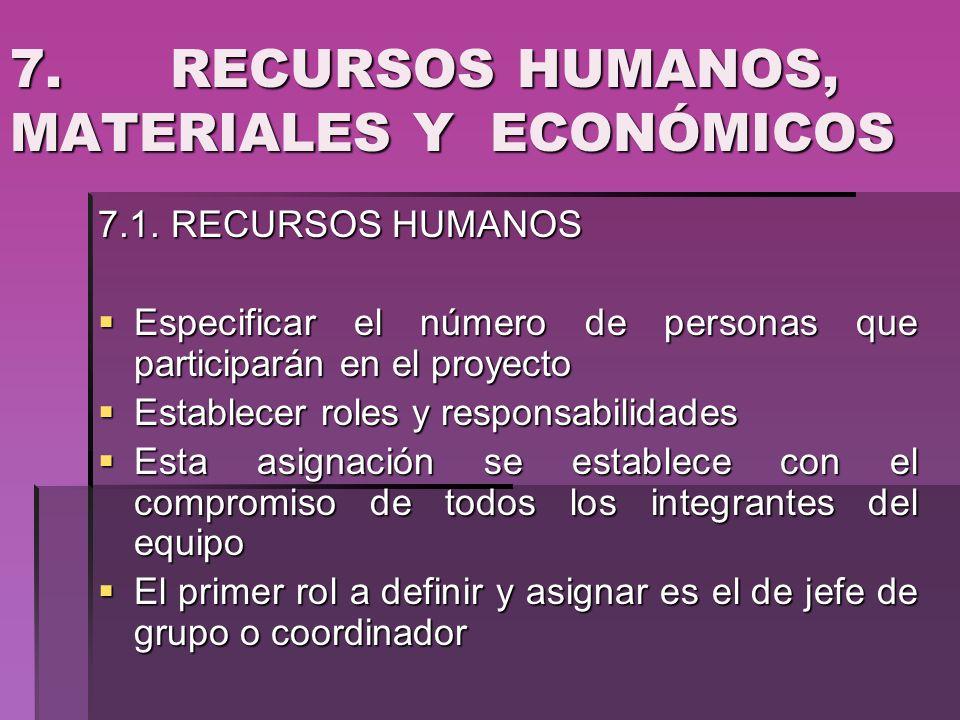7. RECURSOS HUMANOS, MATERIALES Y ECONÓMICOS