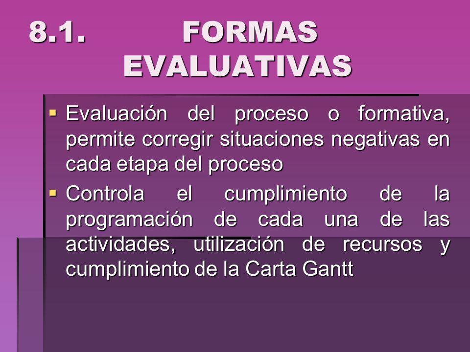 8.1. FORMAS EVALUATIVASEvaluación del proceso o formativa, permite corregir situaciones negativas en cada etapa del proceso.