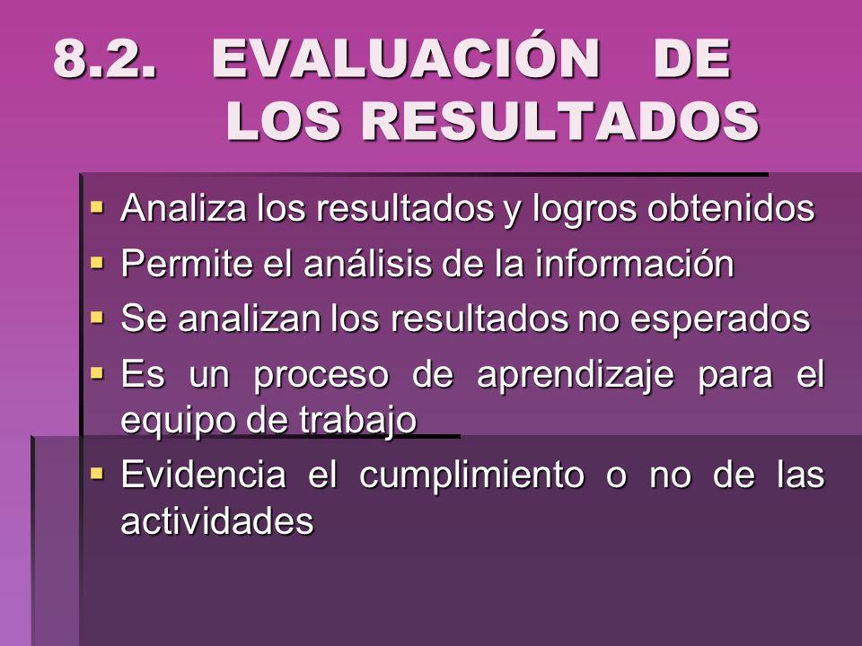 8.2. EVALUACIÓN DE LOS RESULTADOS