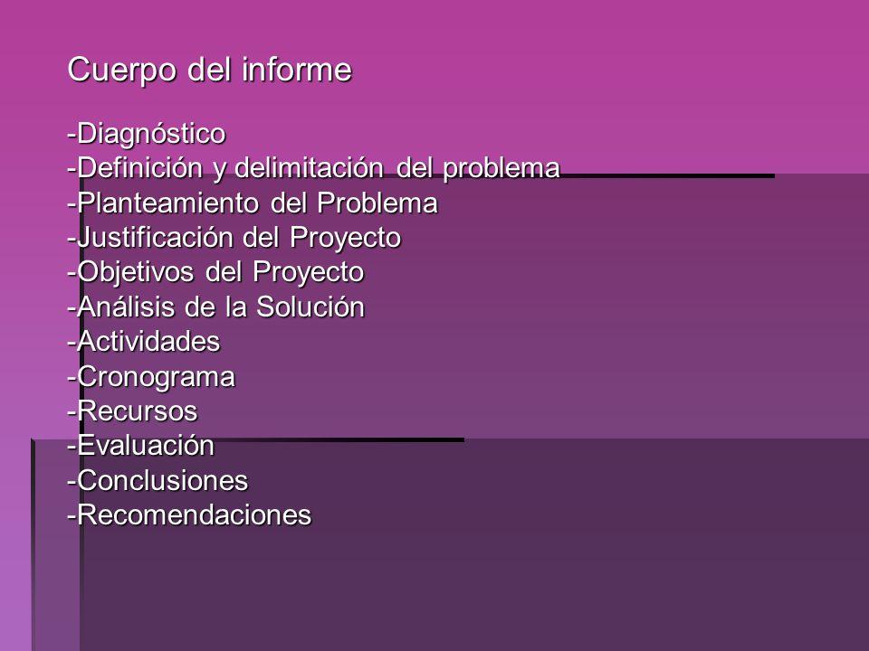 Cuerpo del informe Diagnóstico Definición y delimitación del problema
