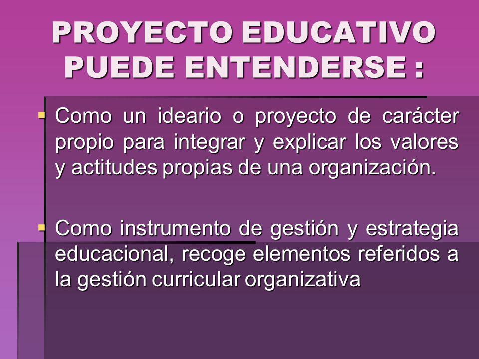 PROYECTO EDUCATIVO PUEDE ENTENDERSE :
