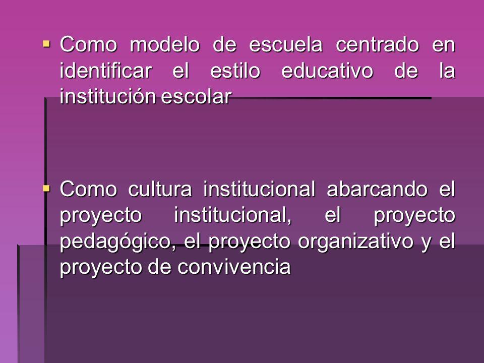Como modelo de escuela centrado en identificar el estilo educativo de la institución escolar