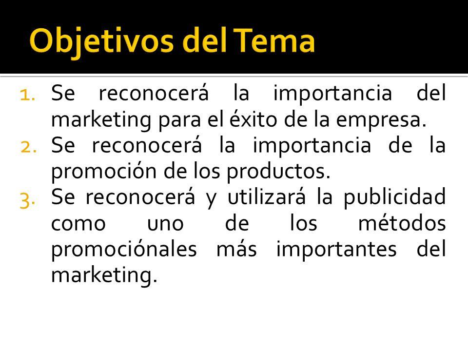 Objetivos del Tema Se reconocerá la importancia del marketing para el éxito de la empresa.