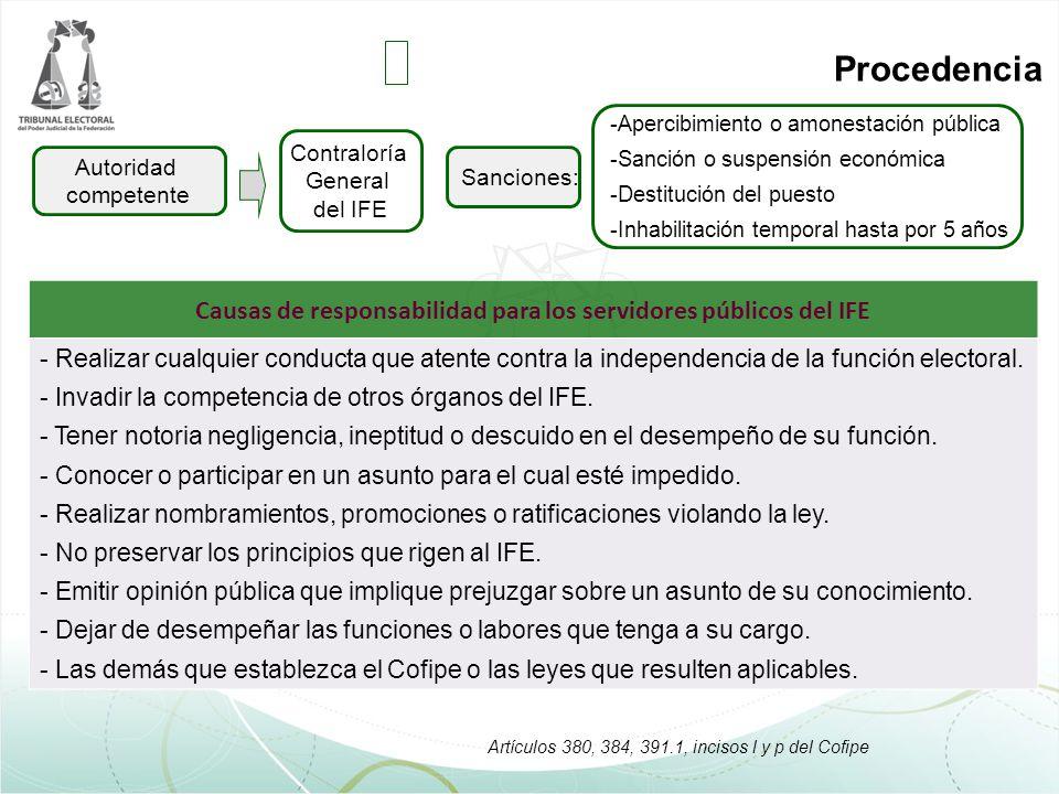 Causas de responsabilidad para los servidores públicos del IFE