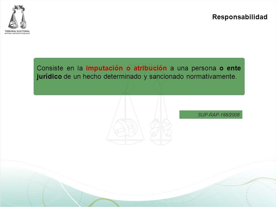 Responsabilidad Consiste en la imputación o atribución a una persona o ente jurídico de un hecho determinado y sancionado normativamente.