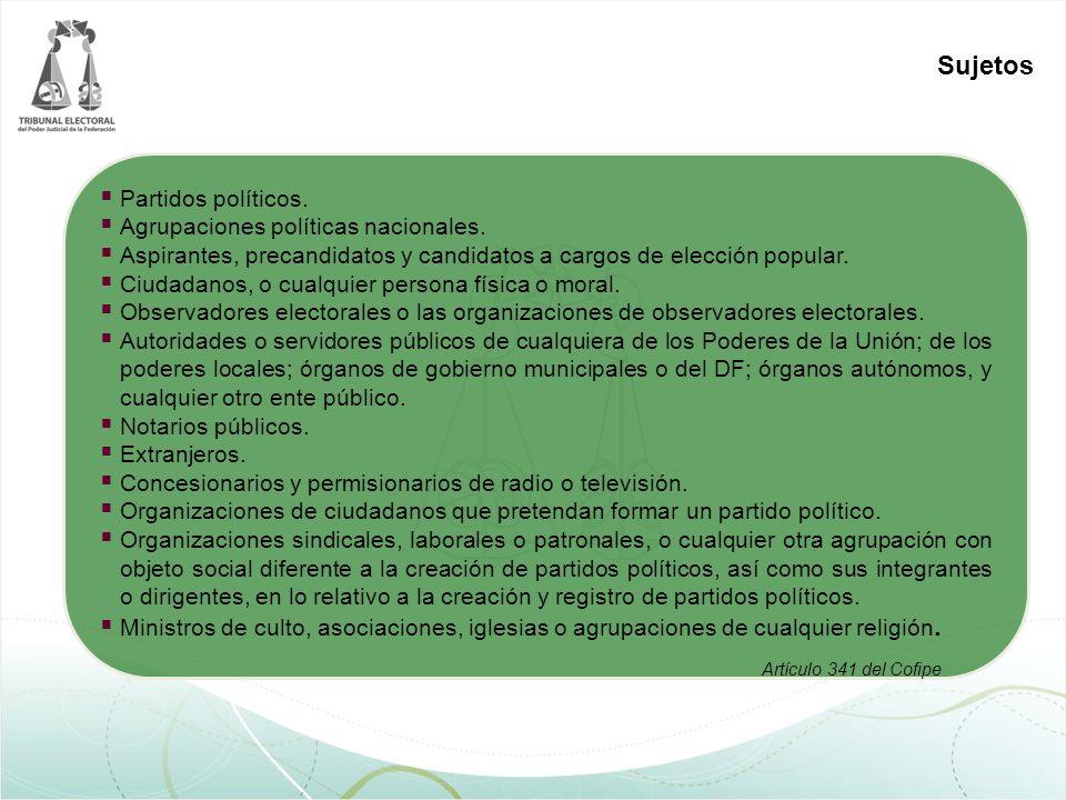 Sujetos Partidos políticos. Agrupaciones políticas nacionales.