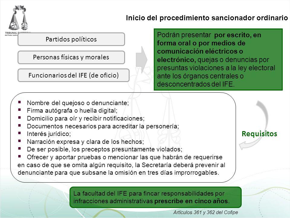 Requisitos Inicio del procedimiento sancionador ordinario