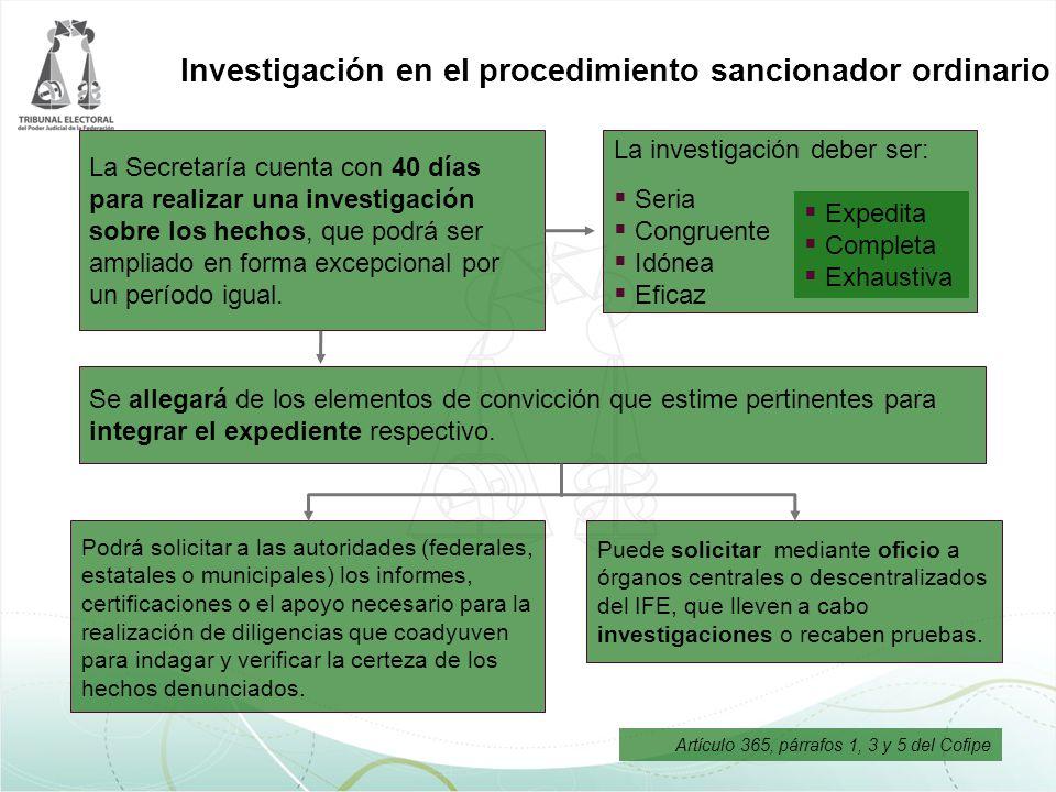 Investigación en el procedimiento sancionador ordinario