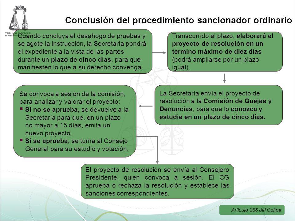 Conclusión del procedimiento sancionador ordinario