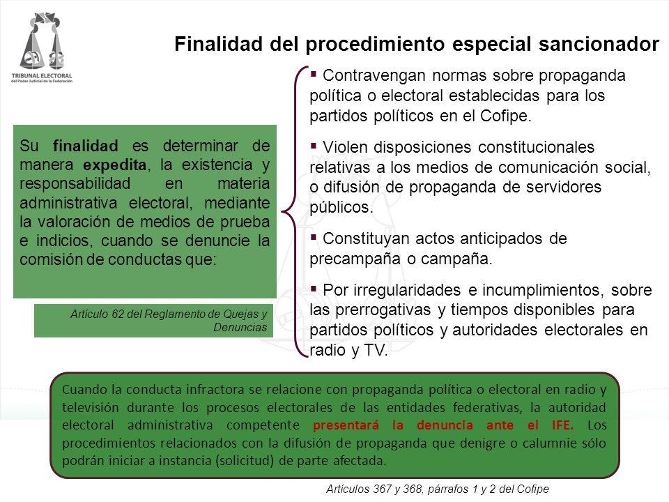 Finalidad del procedimiento especial sancionador