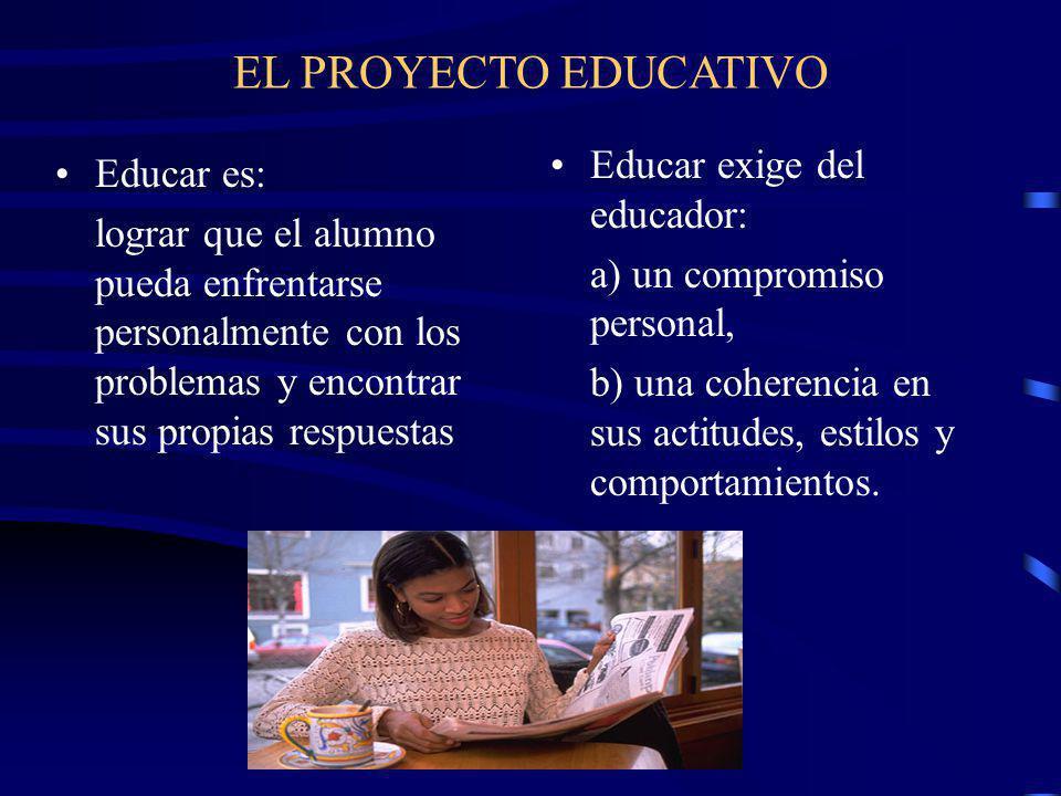 EL PROYECTO EDUCATIVO Educar exige del educador: Educar es: