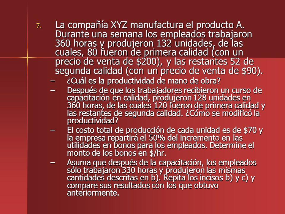 La compañía XYZ manufactura el producto A