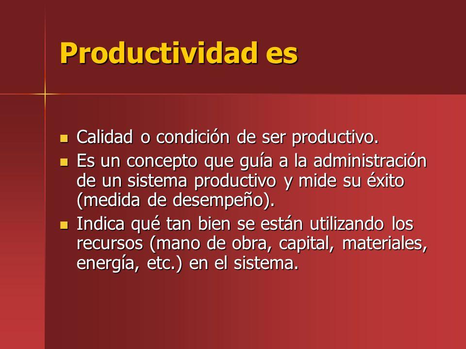 Productividad es Calidad o condición de ser productivo.