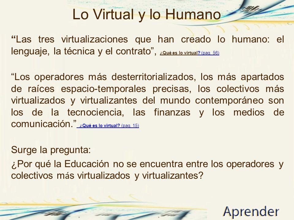 Lo Virtual y lo Humano Las tres virtualizaciones que han creado lo humano: el lenguaje, la técnica y el contrato , ¿Qué es lo virtual (pag. 56)