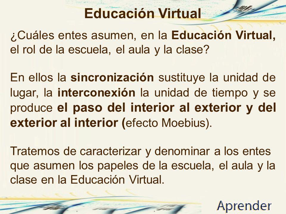 Educación Virtual ¿Cuáles entes asumen, en la Educación Virtual, el rol de la escuela, el aula y la clase