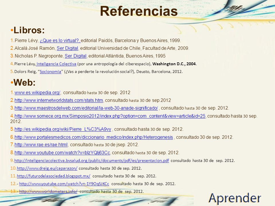 Referencias Libros: Web: