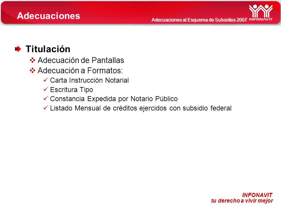 Adecuaciones Titulación Adecuación de Pantallas Adecuación a Formatos: