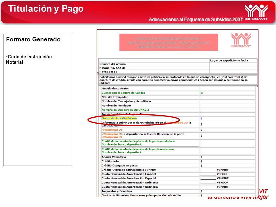 Titulación y Pago Formato Generado Carta de Instrucción Notarial