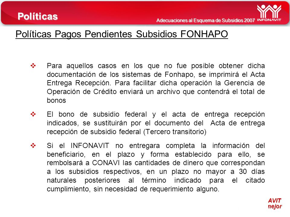 Políticas Pagos Pendientes Subsidios FONHAPO