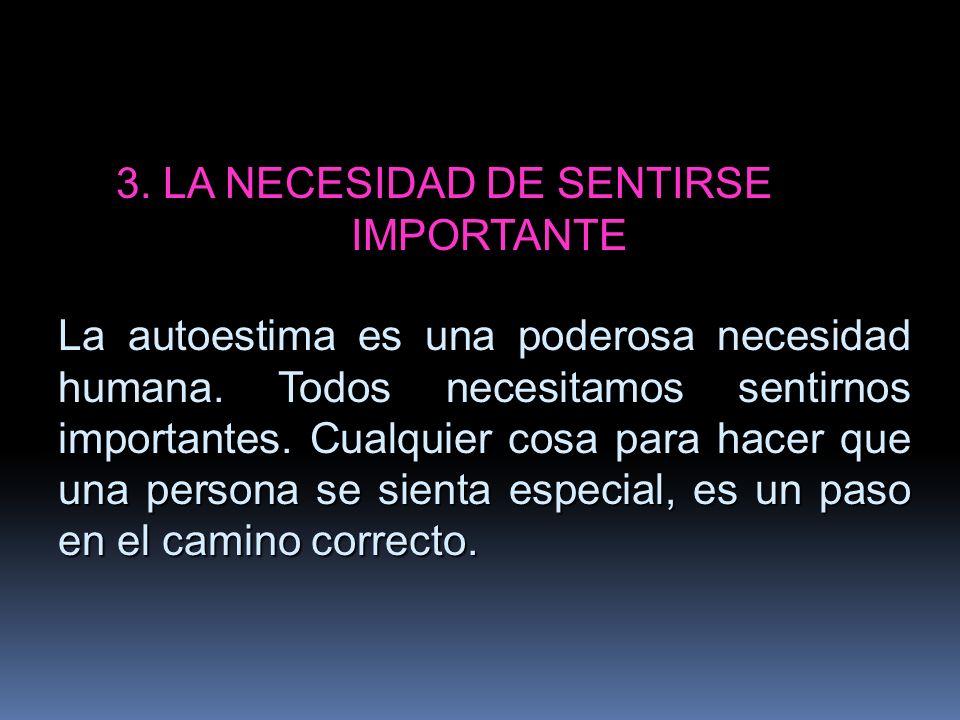 3. LA NECESIDAD DE SENTIRSE IMPORTANTE