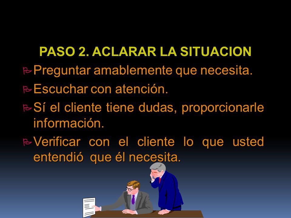 PASO 2. ACLARAR LA SITUACION