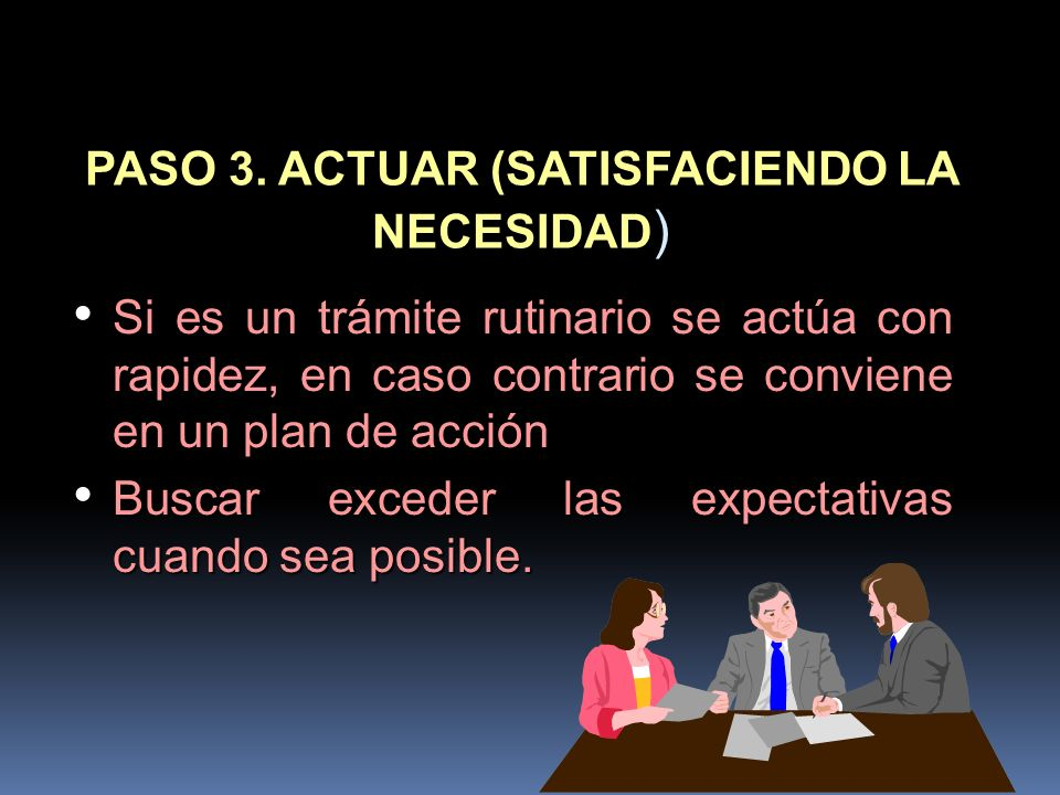 PASO 3. ACTUAR (SATISFACIENDO LA NECESIDAD)