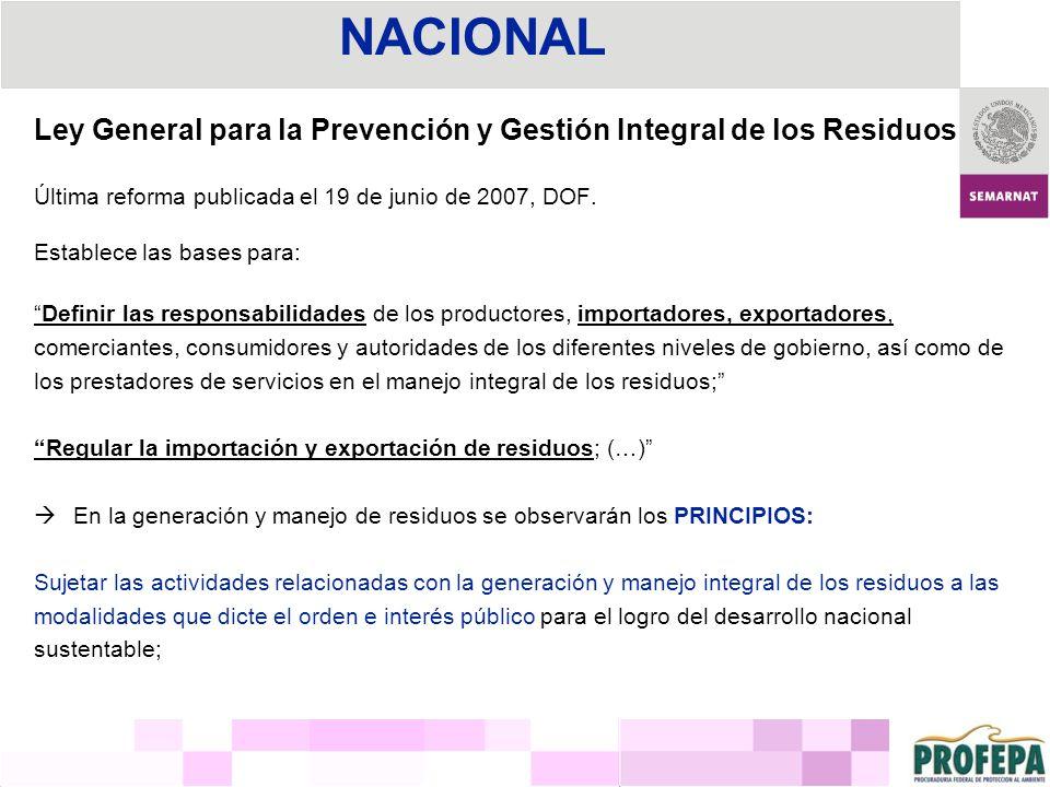 NACIONAL Ley General para la Prevención y Gestión Integral de los Residuos. Última reforma publicada el 19 de junio de 2007, DOF.