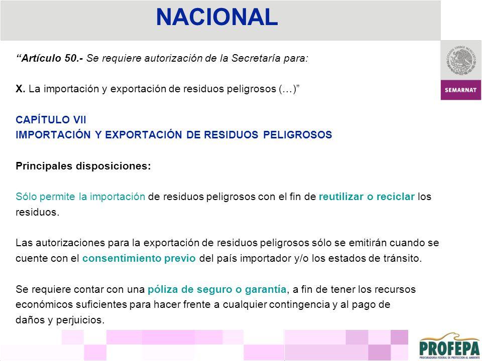 NACIONAL Artículo 50.- Se requiere autorización de la Secretaría para: X. La importación y exportación de residuos peligrosos (…)