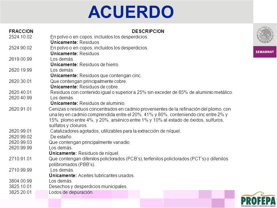 ACUERDO FRACCION DESCRIPCION