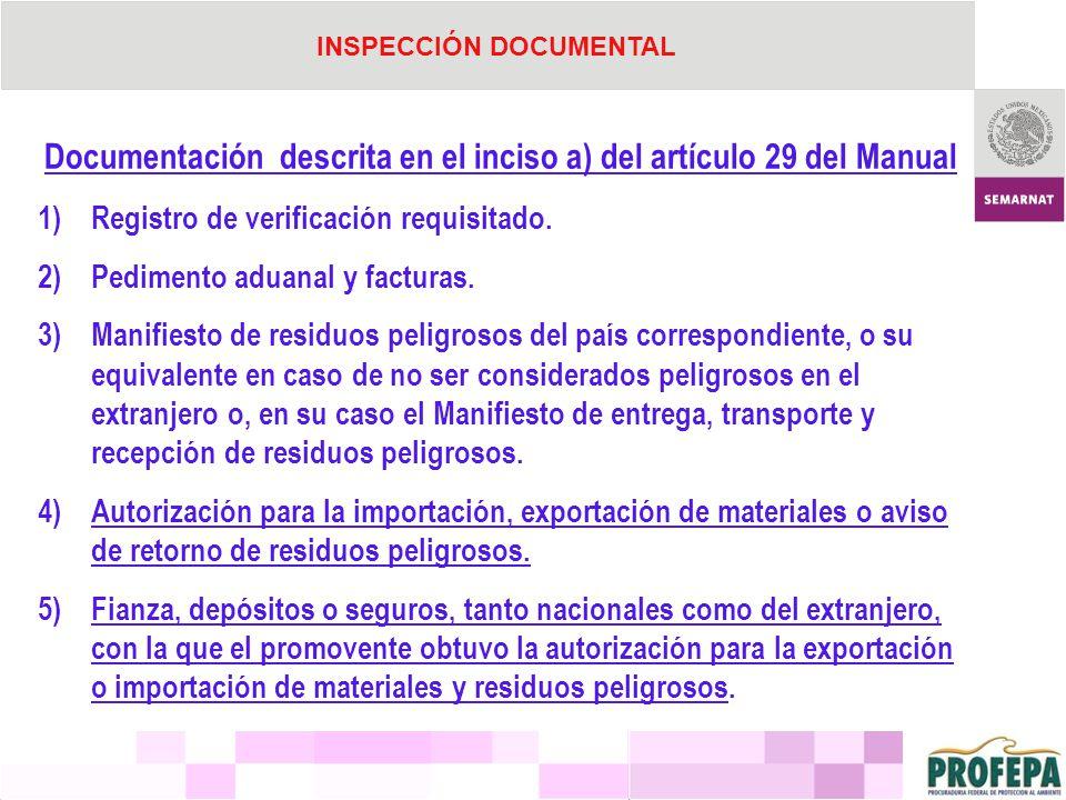 Documentación descrita en el inciso a) del artículo 29 del Manual