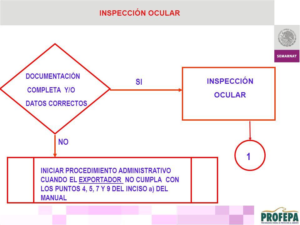1 SI NO INSPECCIÓN OCULAR DOCUMENTACIÓN COMPLETA Y/O INSPECCIÓN OCULAR