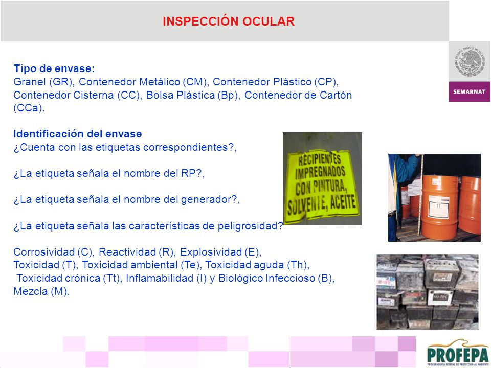 INSPECCIÓN OCULAR Tipo de envase: