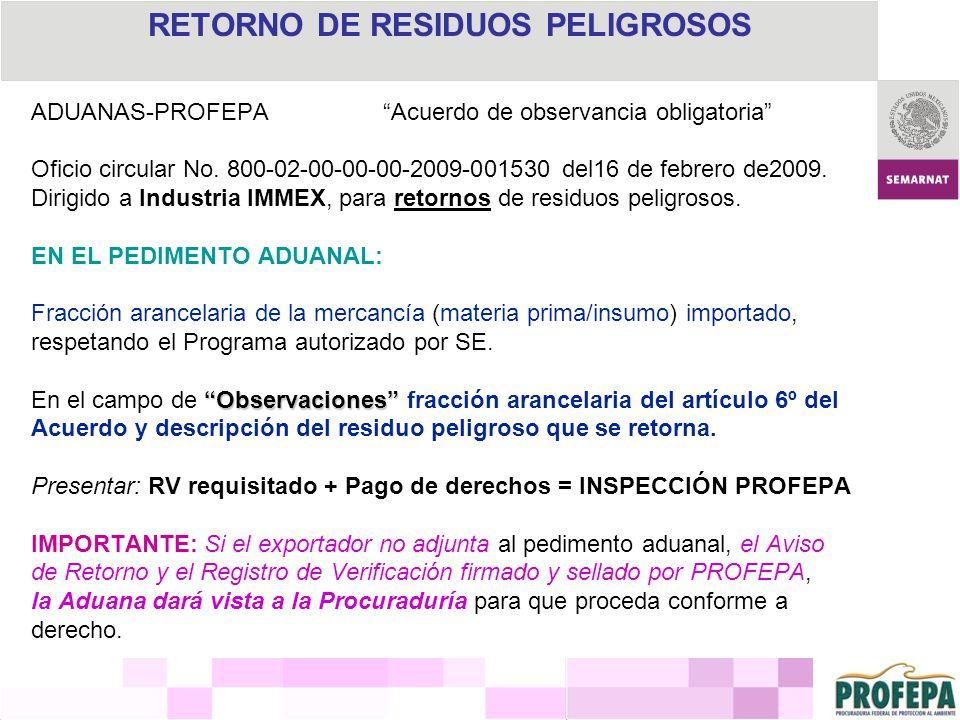 RETORNO DE RESIDUOS PELIGROSOS