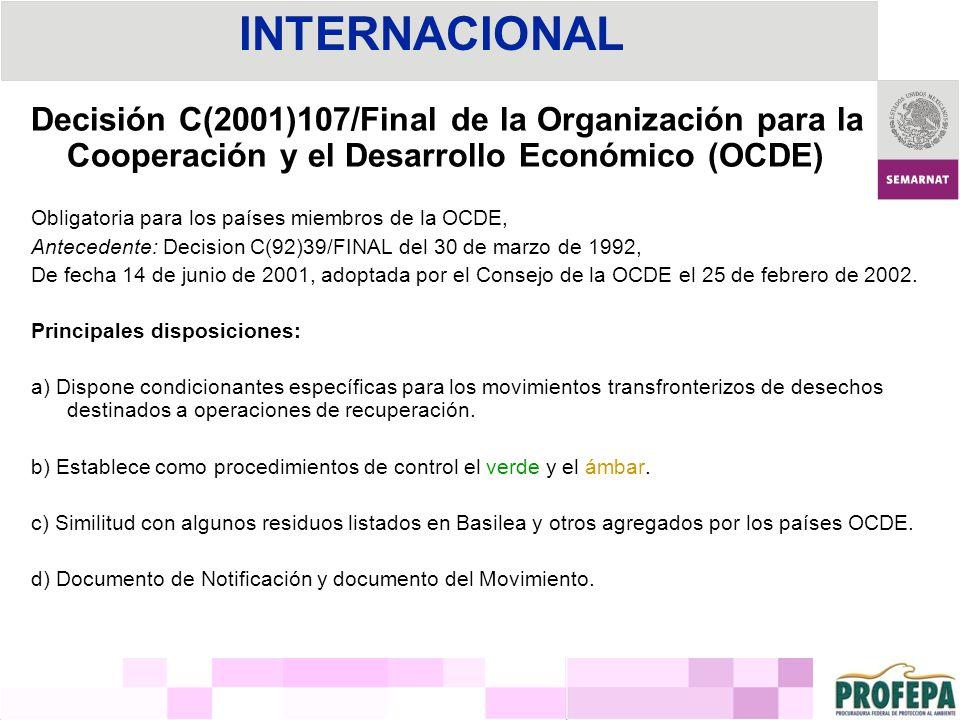 INTERNACIONAL Decisión C(2001)107/Final de la Organización para la Cooperación y el Desarrollo Económico (OCDE)