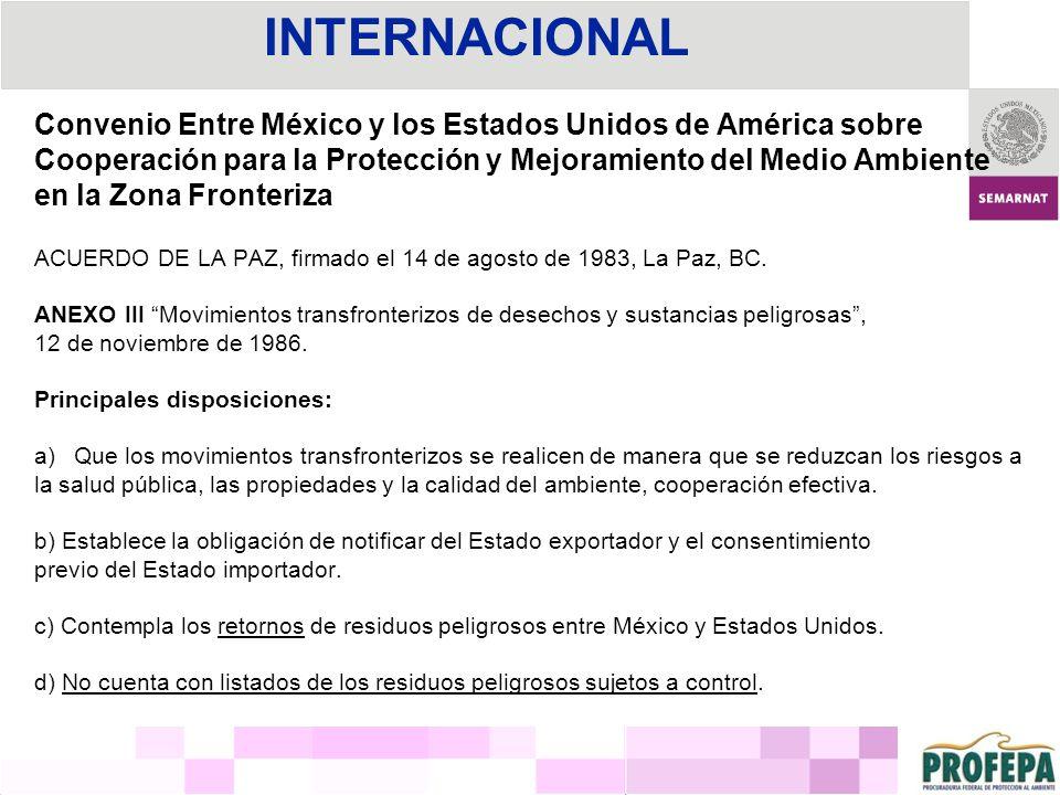 INTERNACIONAL Convenio Entre México y los Estados Unidos de América sobre. Cooperación para la Protección y Mejoramiento del Medio Ambiente.