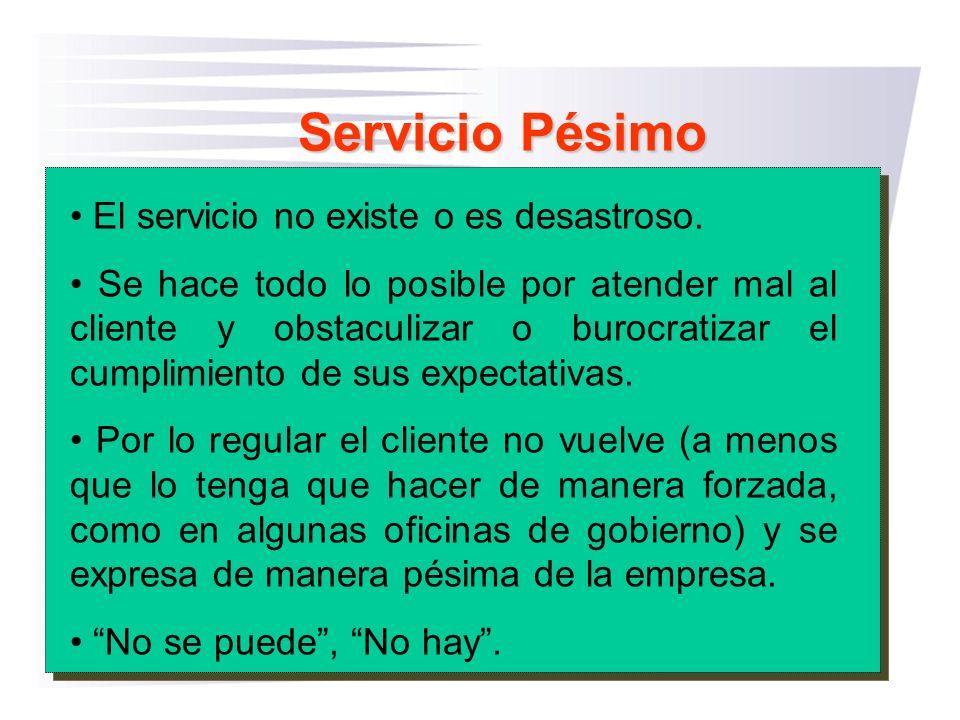 Servicio Pésimo El servicio no existe o es desastroso.