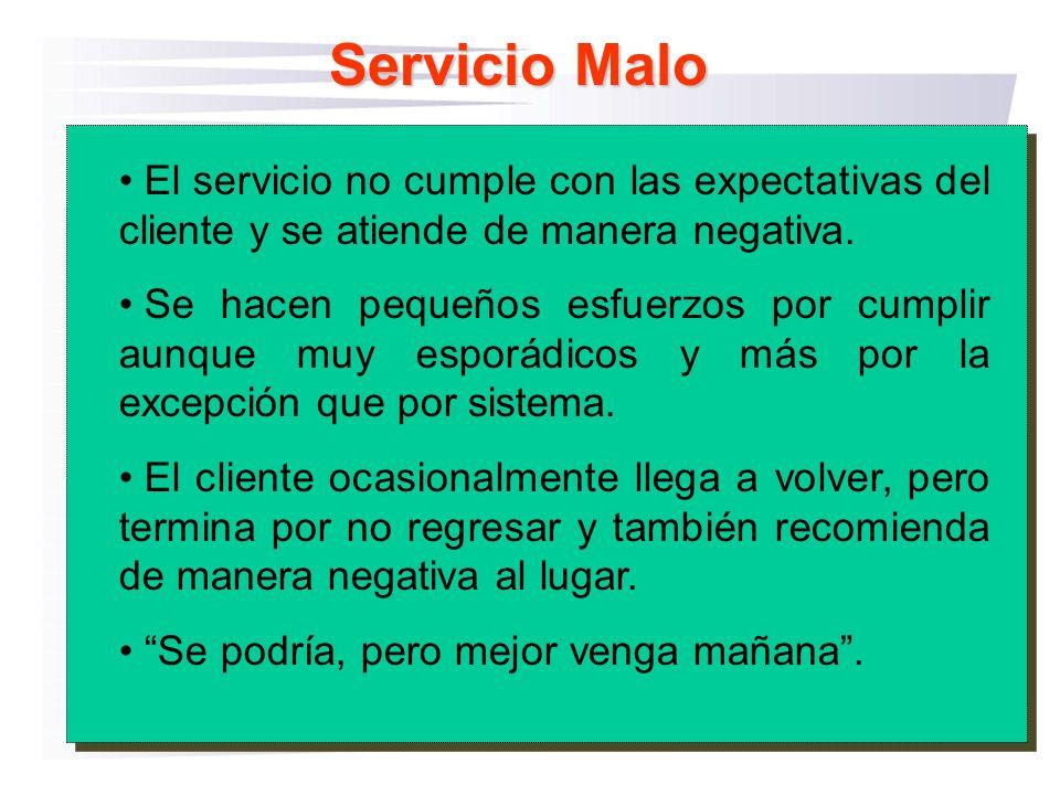 Servicio Malo El servicio no cumple con las expectativas del cliente y se atiende de manera negativa.
