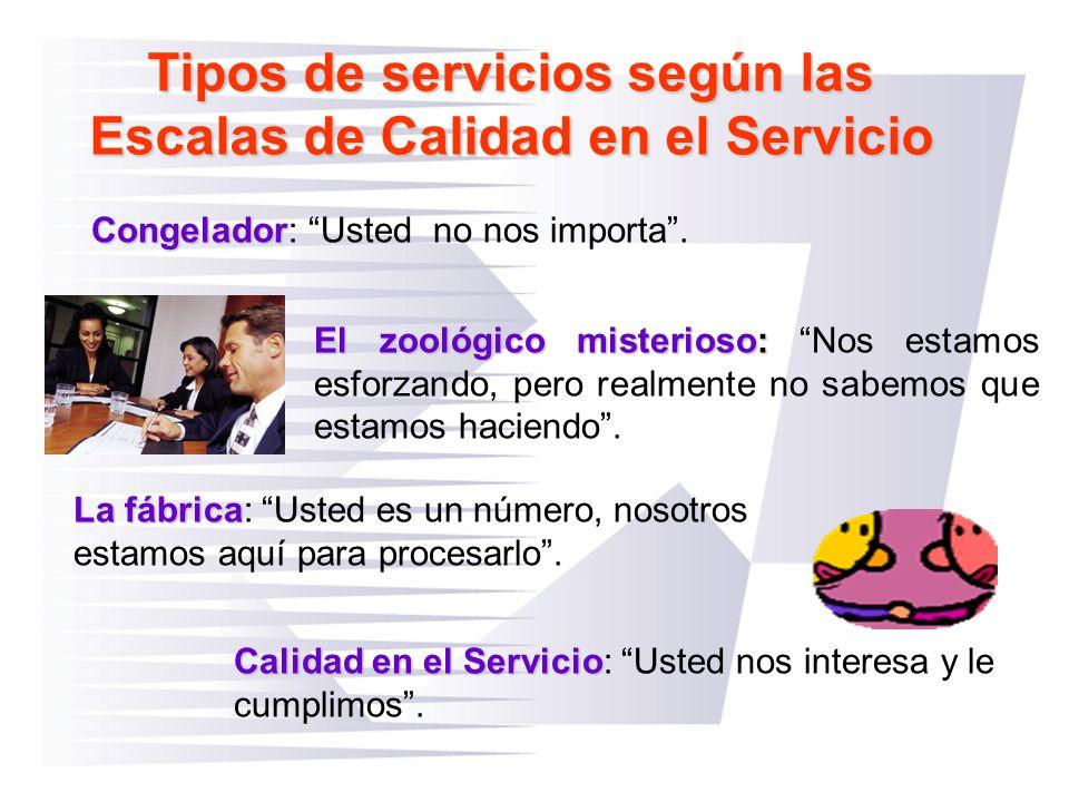 Tipos de servicios según las Escalas de Calidad en el Servicio