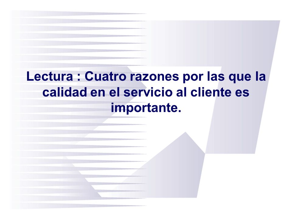 Lectura : Cuatro razones por las que la calidad en el servicio al cliente es importante.