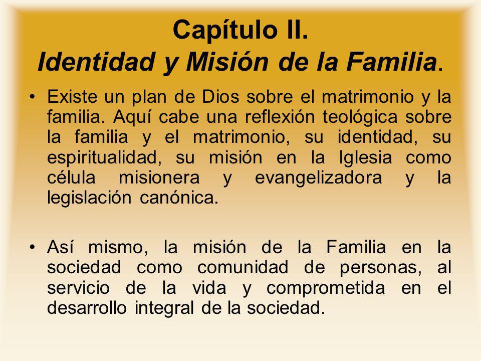 Capítulo II. Identidad y Misión de la Familia.