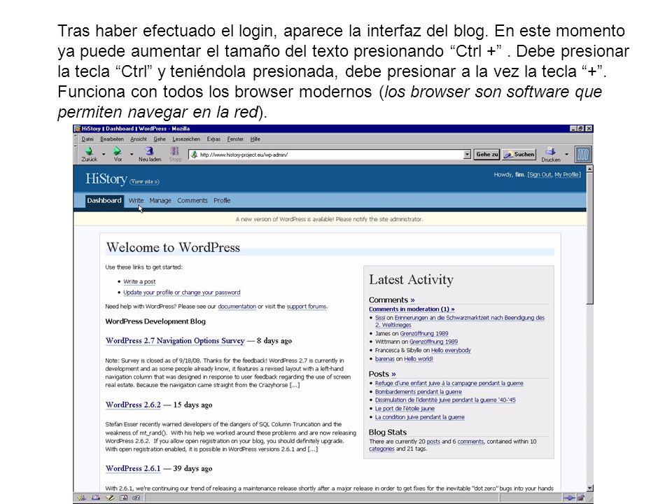 Tras haber efectuado el login, aparece la interfaz del blog