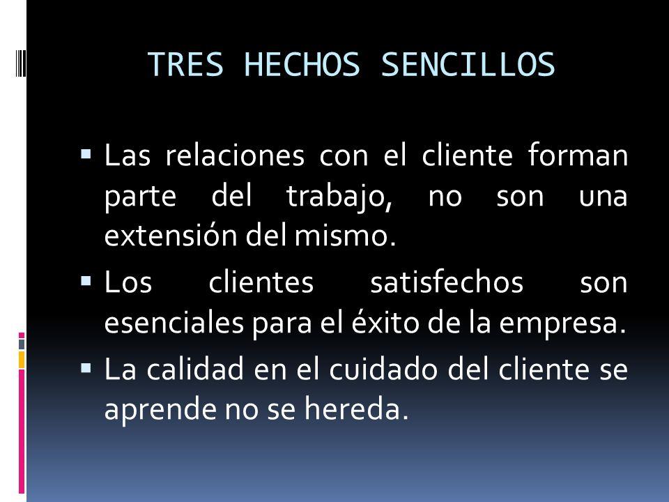 TRES HECHOS SENCILLOS Las relaciones con el cliente forman parte del trabajo, no son una extensión del mismo.