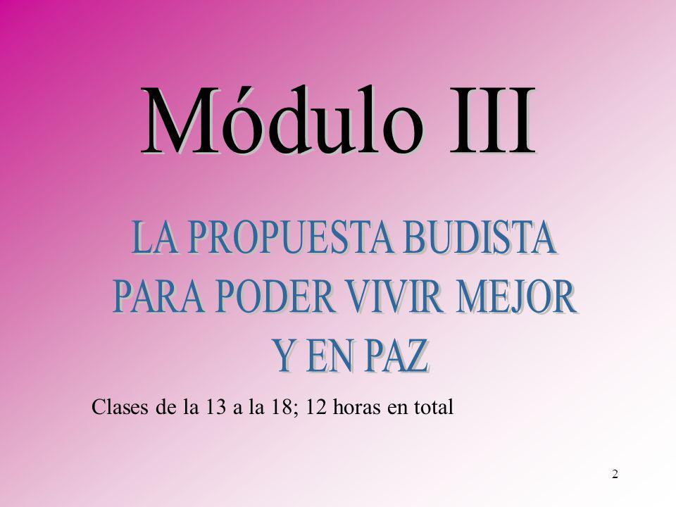 Módulo III LA PROPUESTA BUDISTA PARA PODER VIVIR MEJOR Y EN PAZ
